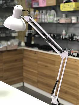 Лампа настольная на струбцине E27 мах 40 w , белая глянцевая