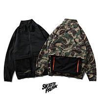 Мужская стильная курточка (весна - осень) (чёрная / камо) Skate Park