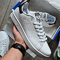Мужские кроссовки Adidas Stan Smith white/black белые с черным кожа 36-44р. Живое фото (Реплика ААА+)