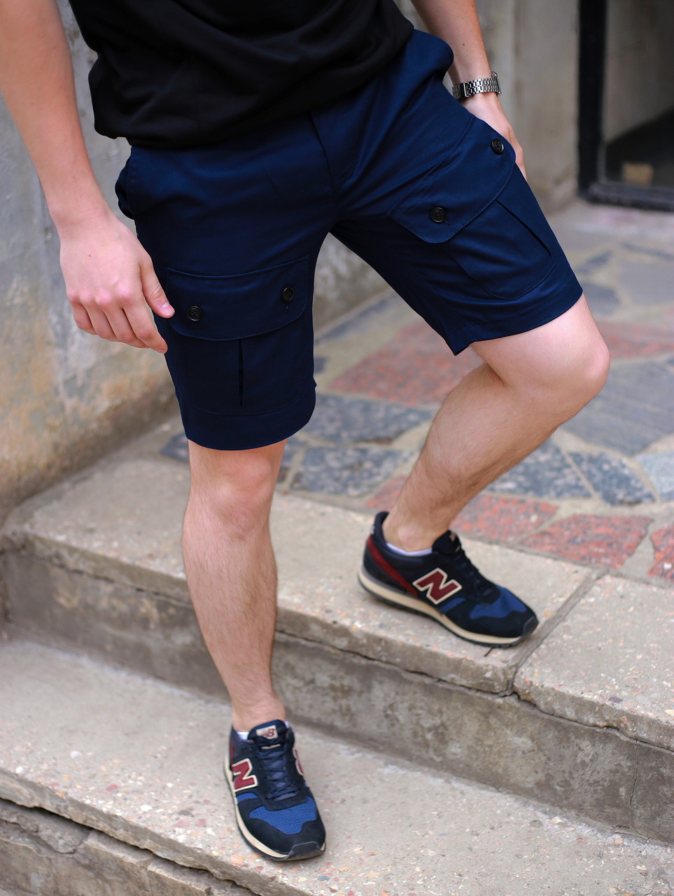 Шорты карго мужские темно-синие бренд ТУР модель Брутто (Brutto) S, M, L, XL, XXL