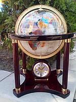 Настольный глобус из полудрагоценных камней ,на подставке с часами,про-ство Тайвань.