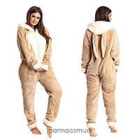 Плюшевая пижама комбинезон Кигуруми (р.42-46) махра капучино