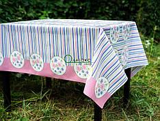 Клеенка силиконовая на стол в розово-синих тонах