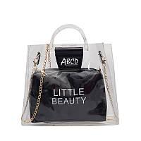 Женская летняя прозрачная сумка Little Beauty черная, фото 1