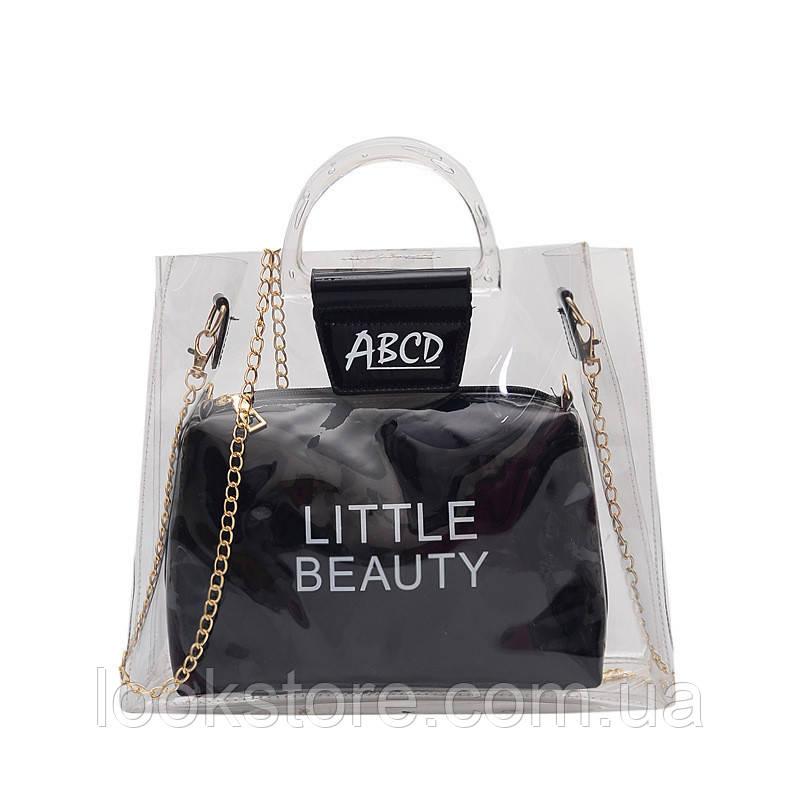 Женская летняя прозрачная сумка Little Beauty черная
