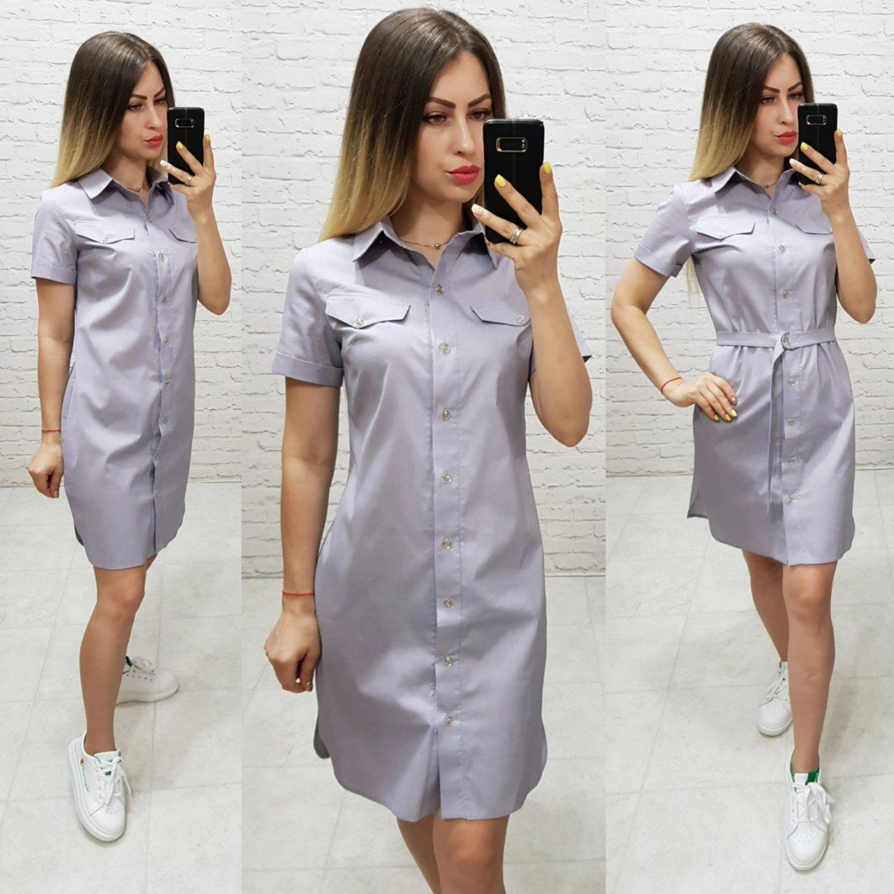 Платье- рубашка с поясом средней длины, арт 171, цвет серая