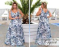 Женское, нарядное, летнее длинное платье из шифона, большого размера Р- 50-52, 54-56, 58-60, 62-64