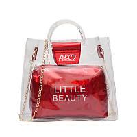Женская летняя прозрачная сумка Little Beauty красная