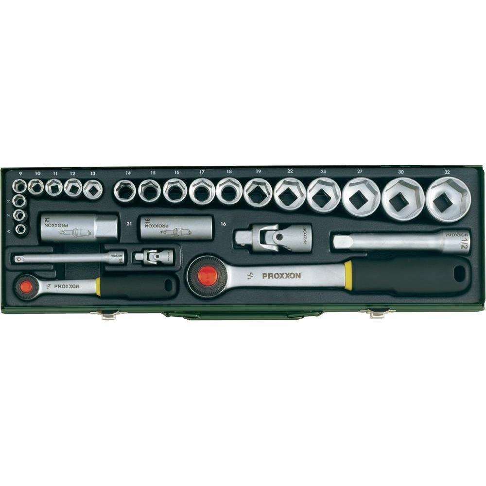 """Автомобильный набор торцовых головок с трещотками Proxxon 1/4"""" и 1/2"""", 6-32 мм, 27 позиций (23020)"""