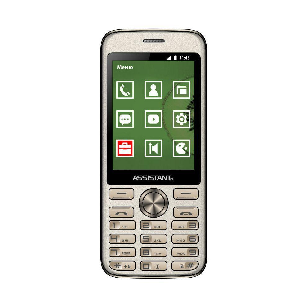 Громкий телефон кнопочный мобильный в металлическом корпусе с большим экраном Assistant AS-204