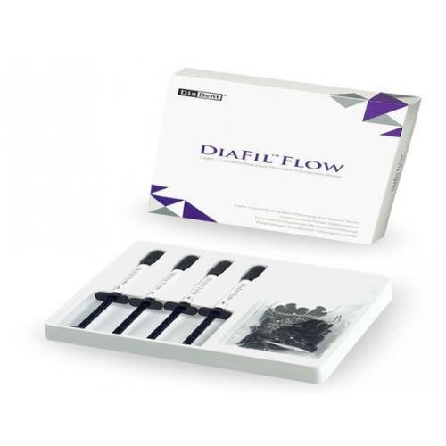 DiaFil Flow (Набор 4 шприца)Светоотверждаемый, рентгеноконтрастный текучий микро-гибридный реставрационный ком