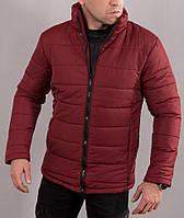 Мужская зимняя куртка бордового цвета без капюшона, на синтепоне