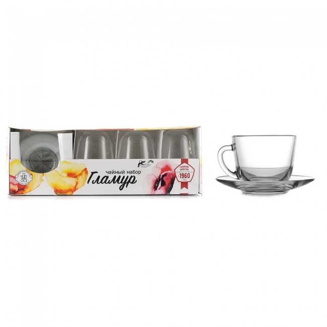 Набір чайний Гламур чашки 200мл 6шт, блюдця 132мм 6шт