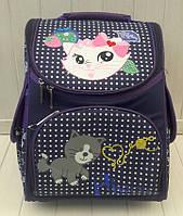 Школьный каркасный ранец фиолетового цвета с принтом для девочки 34*25*15 см