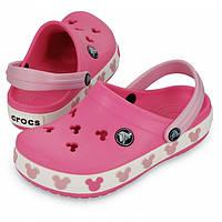 Кроксы летние Crocs Crocband Mickey ІI Kids розовые (37) 24-25 разм. С 8/9