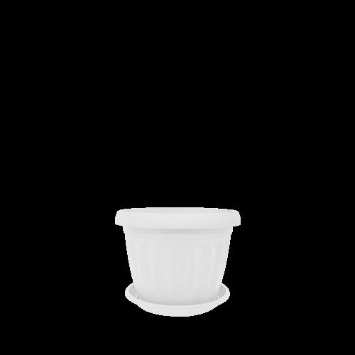 Горшок цветочный Терра 12х9 см  белый флок 0,55 л , Украина