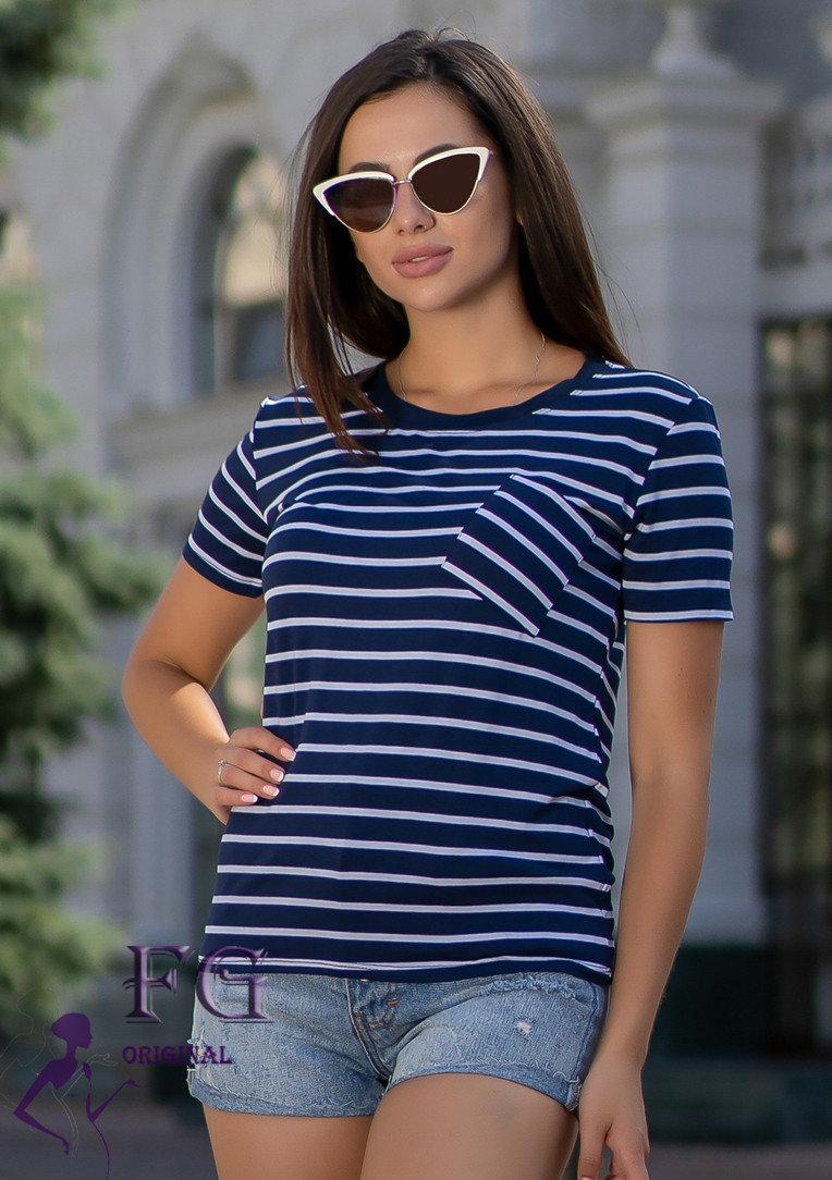 Женская футболка с карманом в полоску