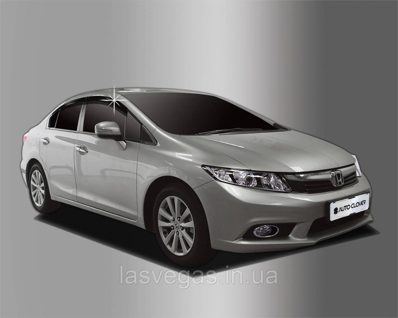 Ветровики, дефлекторы окон Honda Civic 2012+ (Autoclover) A155