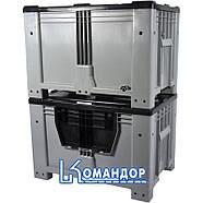 Контейнер Kayalarplastik KSK 1280-80 510 л с откидной стенкой без колес серый, фото 2