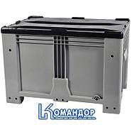 Контейнер Kayalarplastik KSK 1280-80 510 л с откидной стенкой без колес серый, фото 3