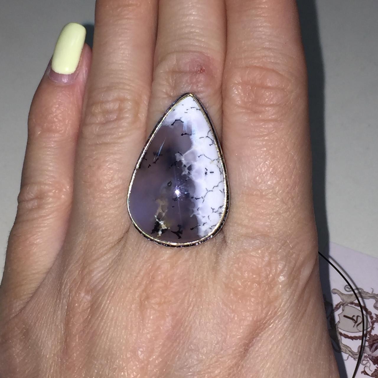 Дендро-агат кольцо капля дендритовый опал размер 18 кольцо с дендритовым агатом в серебре Индия