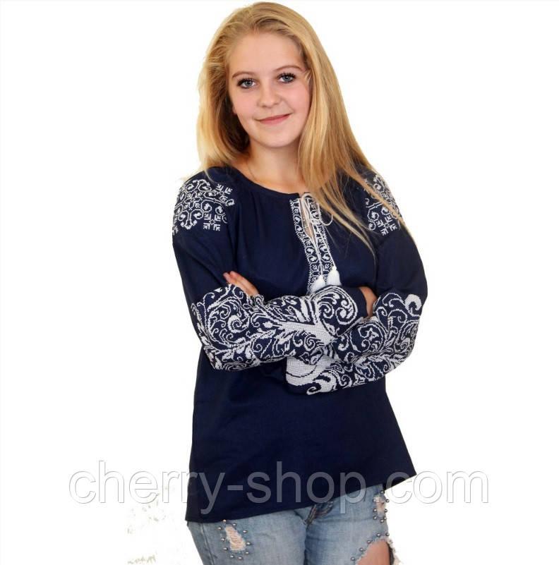 Женская синяя вышиванка блуза