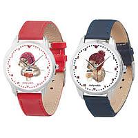 Парные наручные часы для влюблённых Зимуем вместе AW 132 на ремешке (экокожа) + деревянная коробка в подарок