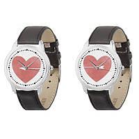 Парные наручные часы для влюблённых Сердца AW 104 на чёрном ремешке (экокожа) + деревянная коробка в подарок