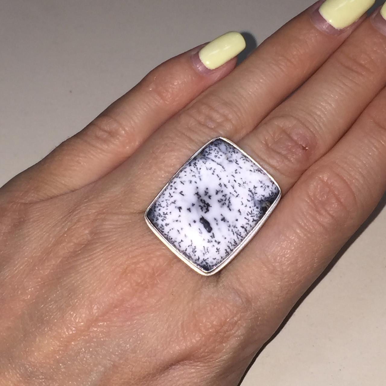 Кольцо дендритовый опал размер 18,5 кольцо с дендро-опалом в серебре Индия