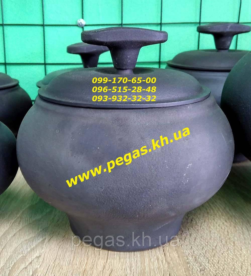 Горщик чавунець чавунний пічної з чавунною кришкою (1,5 літра) печі, барбекю, мангал