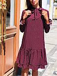 Женское стильное платье с рюшами в горошек, фото 4
