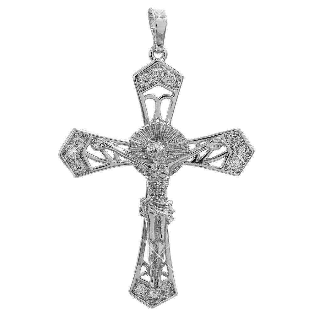 Подвеска белое золото Крест с распятием 4*3 см (Медицинское золото)