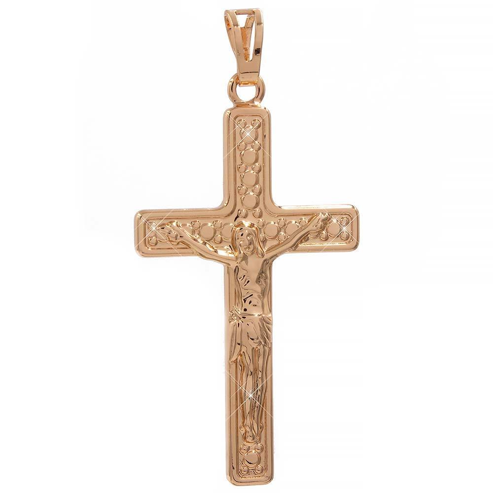 Подвеска лимонная позолота Крест с распятием 4 см (Медицинское золото)