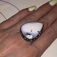 Кольцо капля дендритовый опал размер 18,5-19 кольцо с дендро-агатом опалом в серебре Индия, фото 1