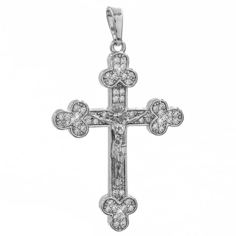 Подвеска Крест с распятием белое золото 3,2 см (Медицинское золото)