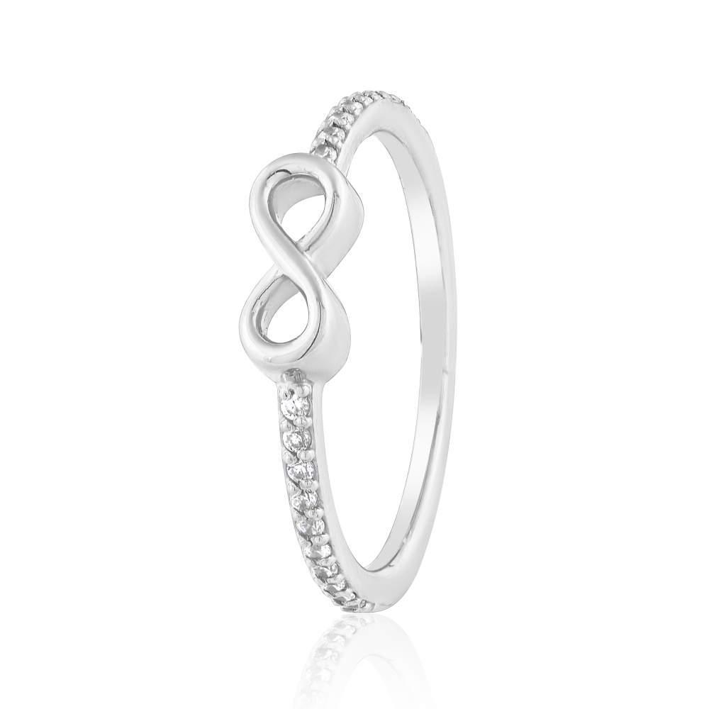 """Золотое кольцо с цирконами """"Бесконечность"""", белое золото, КД0532/1 Эдем"""