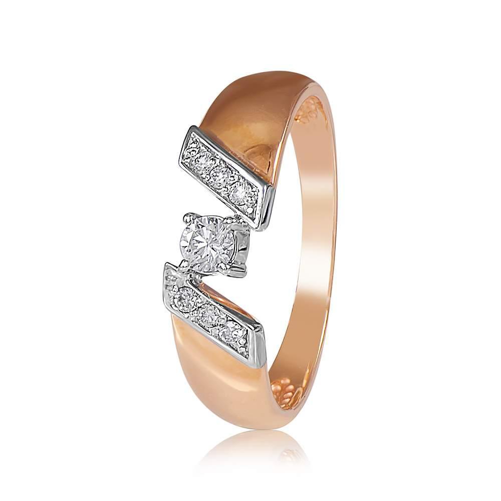 """Кольцо из комбинированного золота с бриллиантом """"Милан"""", КД7523 Eurogold"""