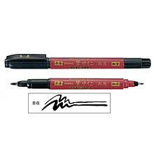 Линер Zebra WFT5 черний Brush Pen Double End красный корпус