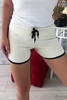 Шорты короткие женские светло-бежевые с черной окантовкой размер S