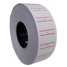 Этикет-лента Deli белый 21х12 мм (1000)шт прямокут с червоною полосою