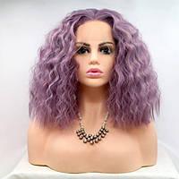 Реалистичный парик омбре на сетке пастельно фиолетовые вьющиеся волосы каре