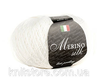 Пряжа Сеам Merino Silk 50 гр Белый