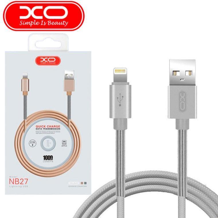 USB кабель XO NB27 lightning 1m (серый)
