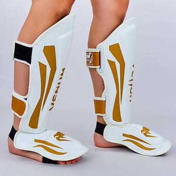 Защита для голени и стопы Муай Тай, ММА, Кикбоксинг кожаная VNM ELITE (р-р M-XL, бело-золотой)
