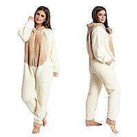 Плюшевая пижама комбинезон Кигуруми (р.42-46) махра кремовый