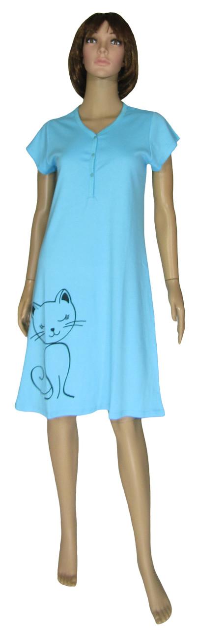 Ночная рубашка женская трикотажная 18303 Fanny Cat Blue интерлок
