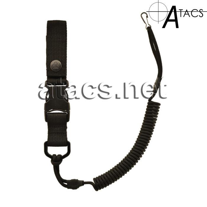 Страховочный шнур с фастексом, спиральный черный