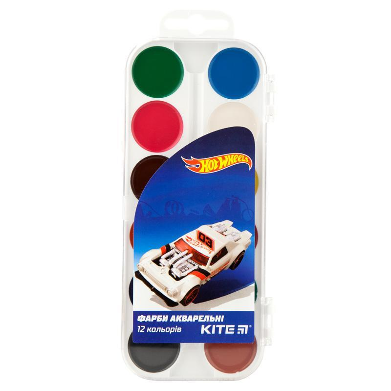Краски акварельные Kite 12 цветов Hot Wheels