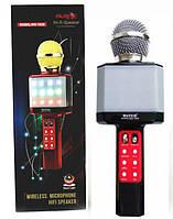 Беспроводной Микрофон караоке Wster ws-1828 с светодиодной цветомузыкой, черный