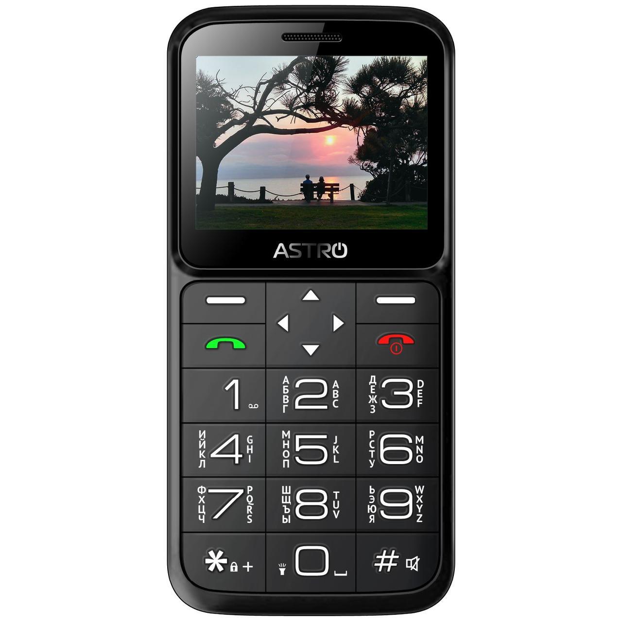 Кнопочный мобильный телефон бабушкофон на 2 сим карты с фонариком Astro A186 чёрный